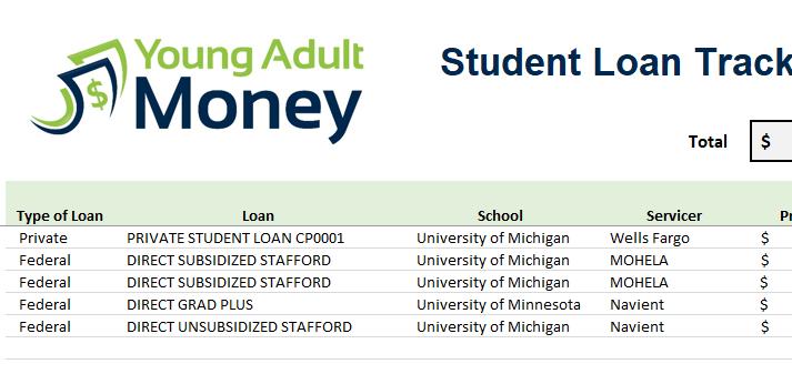 student loan spreadsheet excel