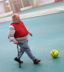 Michael from OWLS Lads Lunch enjoying a game of walking football