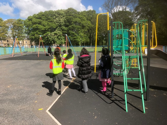 Children from Brackenhill Primary School checking out the play area