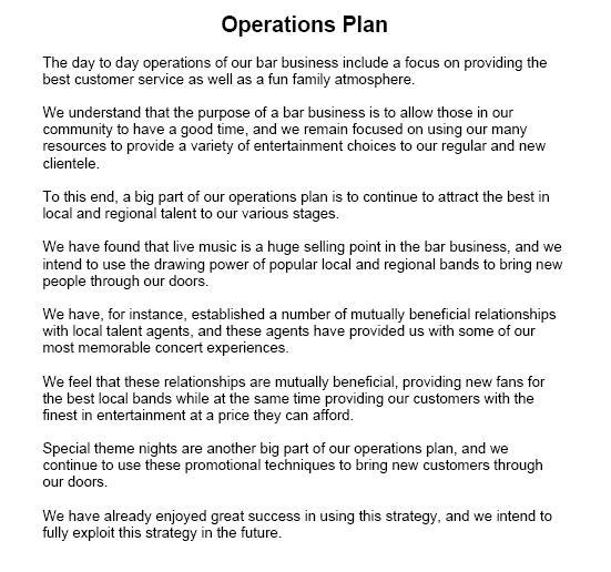 sample operation plan