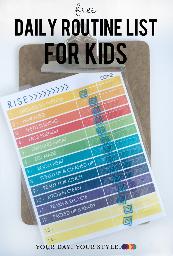 Free chart to keep kids organized before and after school