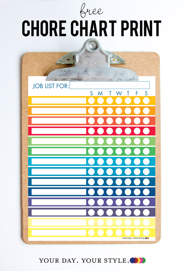 Free Printable Chore Chart for Kids and Chores by Age Chart