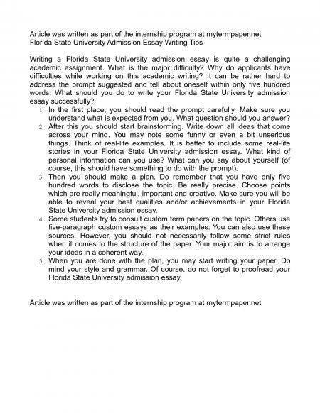 Florida state essay answer the question being asked about florida