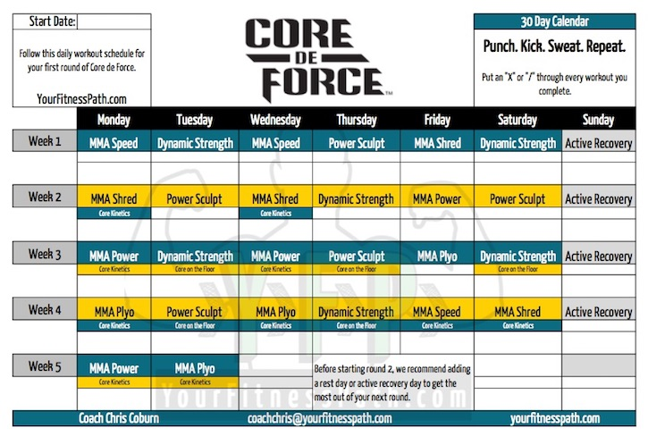 Core de Force Workout Calendar - Your Fitness Path - workout program sheet