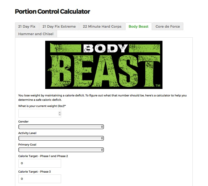 Portion Control Calculator Expanded - Your Fitness Path