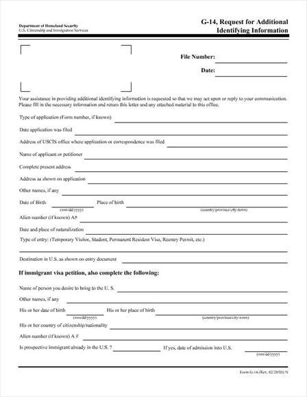 Free legal form USCIS G-14 form