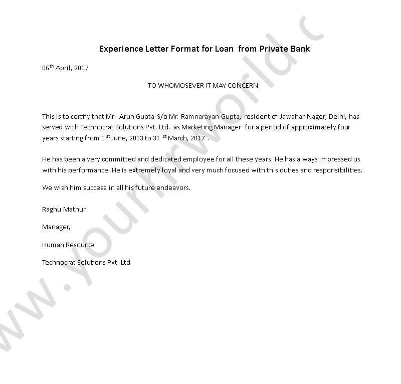 Experience Certificate Letter Format for Loan From Private Bank - HR