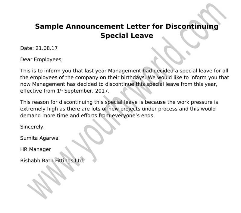 Announcement Letter Format for Discontinuing Special Leave HR