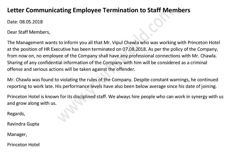 Letter Informing Staff About Employee Termination - HR Letter Formats