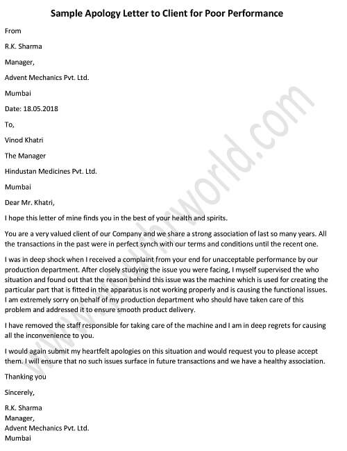Apology Letter to Client for Poor Performance - HR Letter Formats