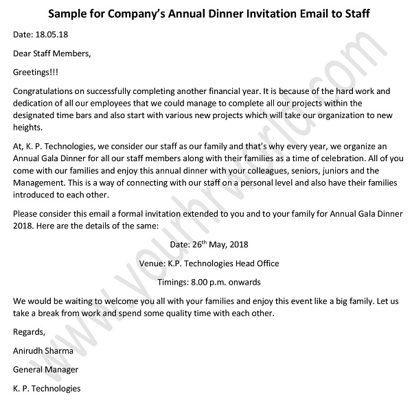 Annual Dinner Invitation Email to Staff - HR Letter Formats