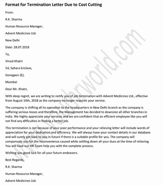 Sample Termination Letter to Employee Due to Cost Cutting - HR