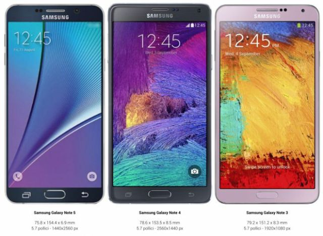 Confronto tra Samsung Galaxy Note 5, Note 4 e Note 3
