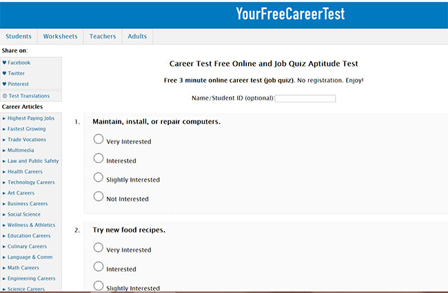 wwwyourfreecareertest - Career Tests for Students