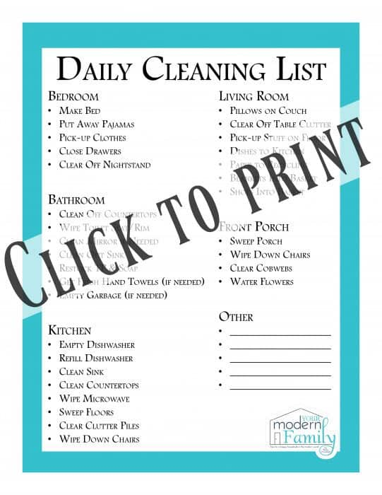 Daily Cleaning List to clean every room {Free Printable} - Your
