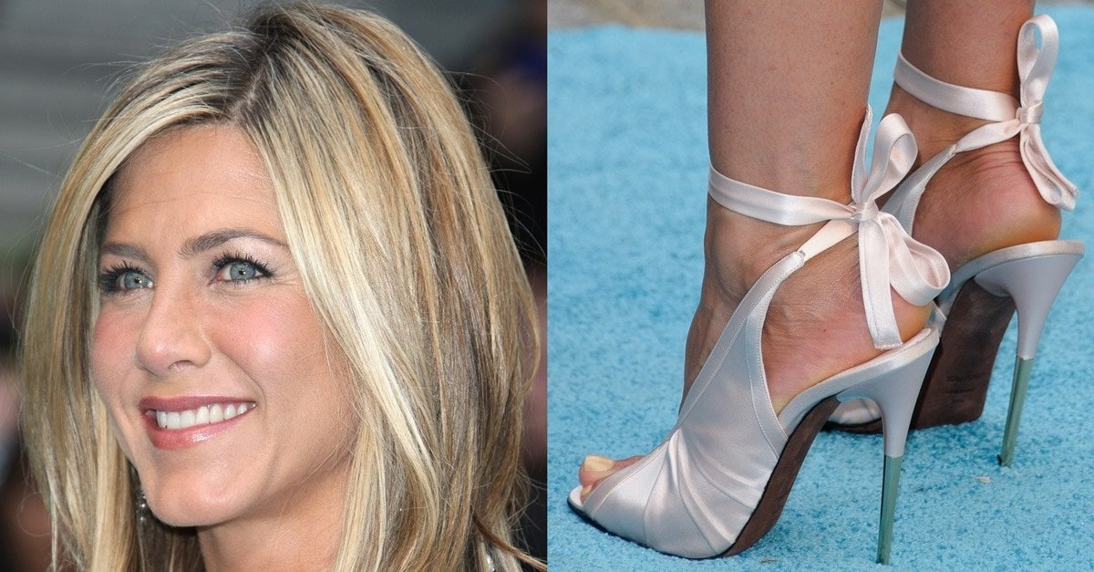 Jennifer Aniston In Gucci Ankle Strap Stilettos And Tom
