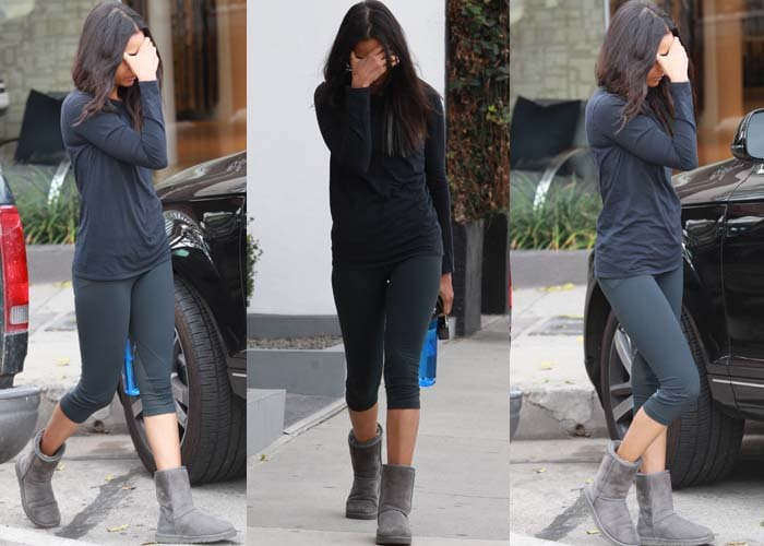 Zoe Saldana Leaves For An Early Workout In Gray Ugg Boots