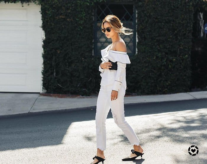 Jamie Chung Pairs White Top And Jeans With The Row 39coco39 Mules