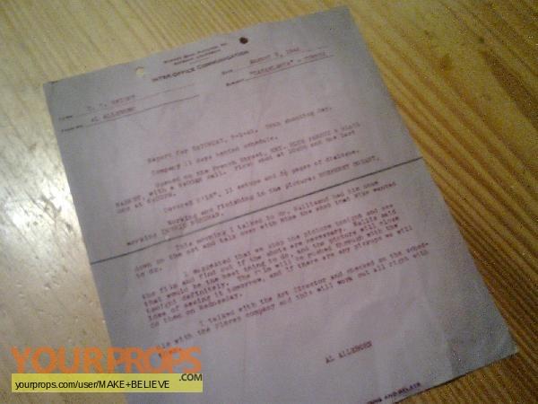 Casablanca Inter Office Communication August 3, 1942 copy replica