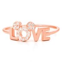 Disney Crislu Ring - Love Mickey Icon - Rose Gold