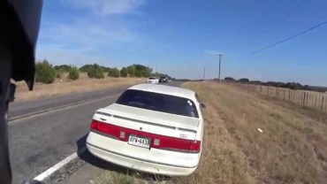 Old guy swerves and hits motorcyclist