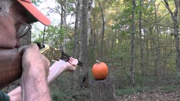 Pumpkin carving with a rifle