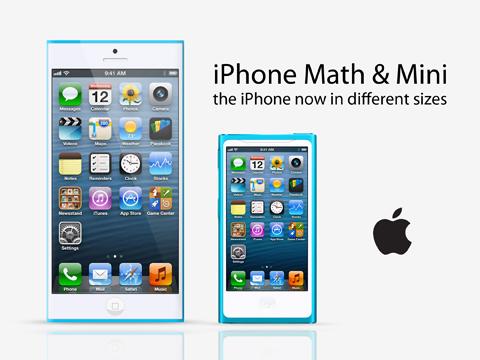 <strong>設計師虛擬出來的iPhone Math和iPhone mini示意圖。</strong>