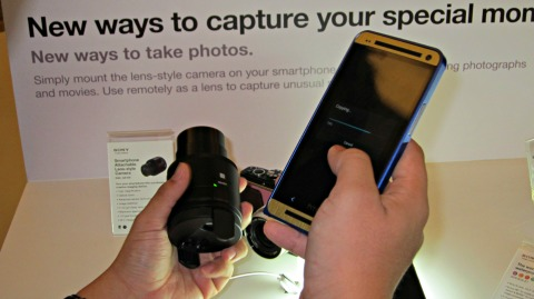 Sony QX100 paired with the HTC One