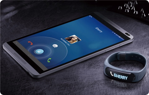 Huawei MediaPad M1 with the TaklBand - claimed to be the world's first  hybrid Bluetooth headset and smart band.