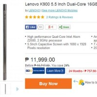 Lenovo K900 selling at Lazada for Php11,999