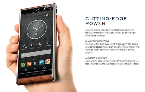 Vertu Aster, a titanium-built phone, priced at Php310,000