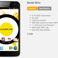 CloudFone Excite 501o Unveiled, Php5K Octa-core Smartphone