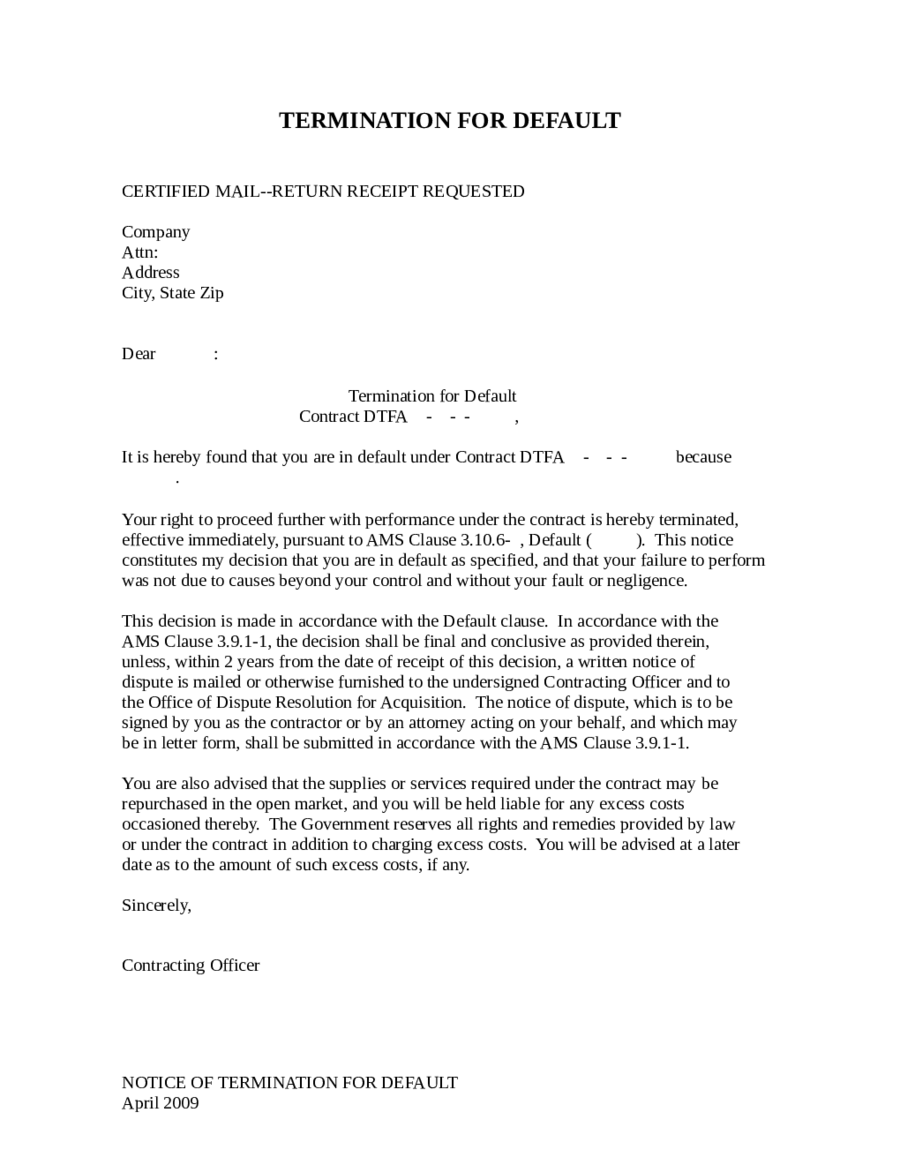 Contract Termination Sample Letter Notice Of Termination Letter Sample How To Write Termination