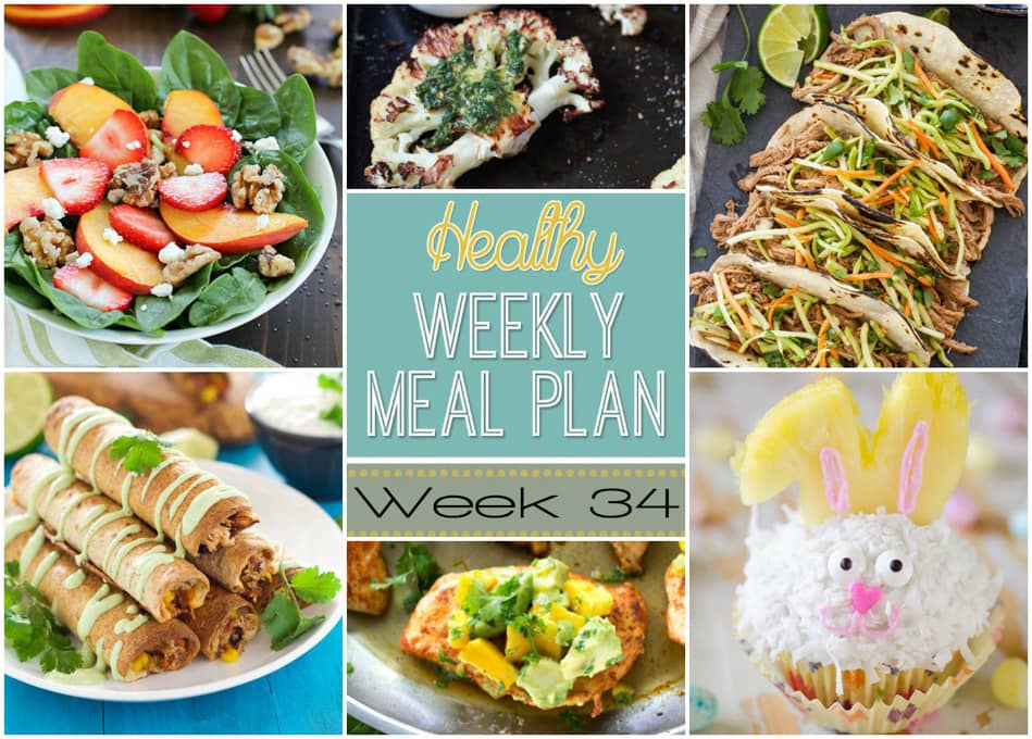 Healthy Weekly Meal Plan #34 - Yummy Healthy Easy - breakfast lunch and dinner meal plan for a week