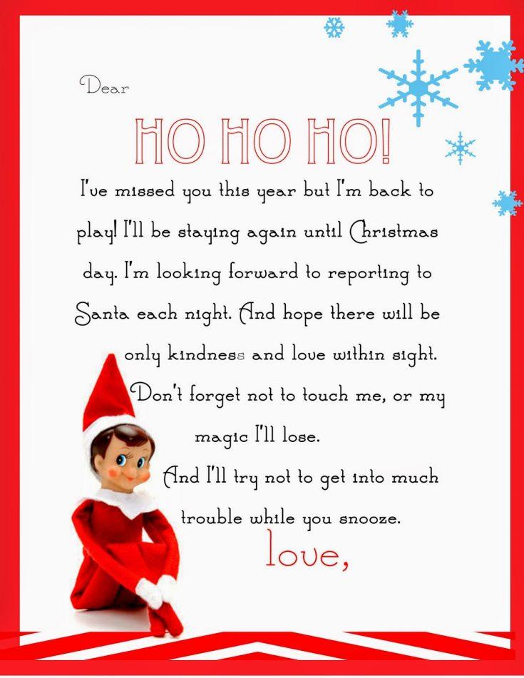 Elf on the Shelf Letter {free printable}