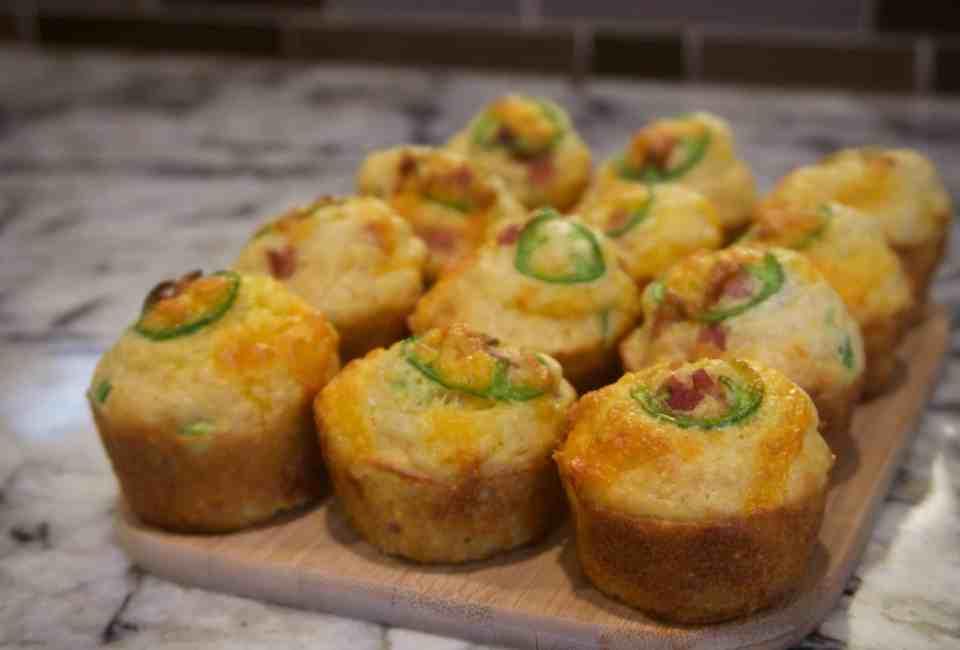 Bacon Cheddar Jalapeno Corn Muffins | YummyNoises.com