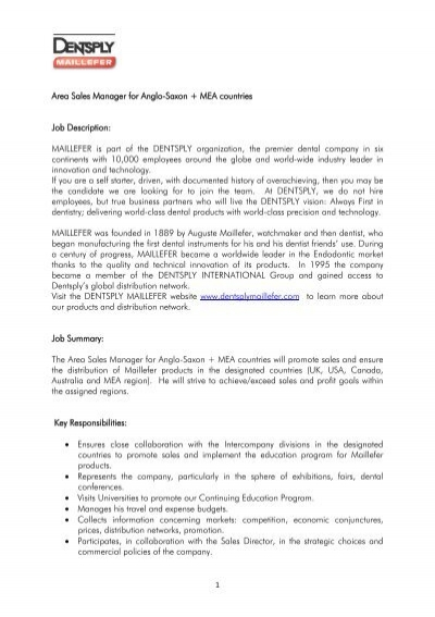 Area Sales Manager for Anglo-Saxon + MEA countries Job - JobUP