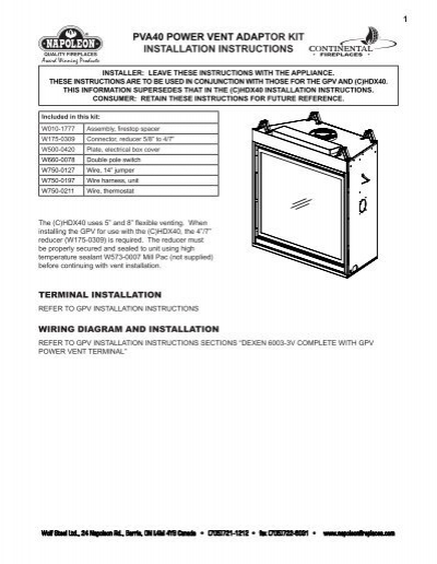 pva40 power vent adaptor kit installation instructions - Continental