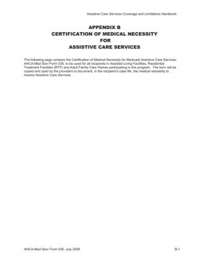 Form 035 - Certification of Medical Necessity - Agency for Health