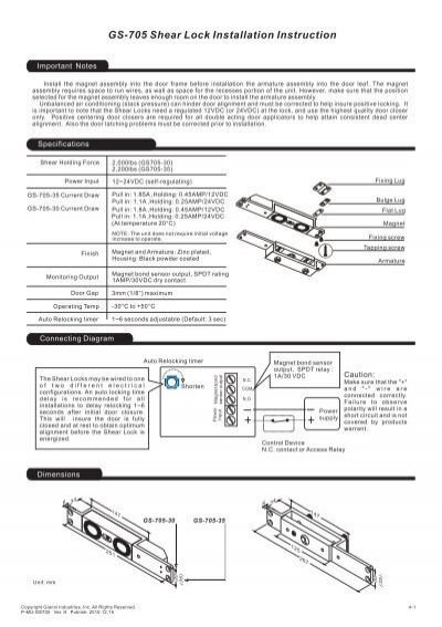 GS-705 Shear Lock Installation Instruction + + - GEM,Gianni