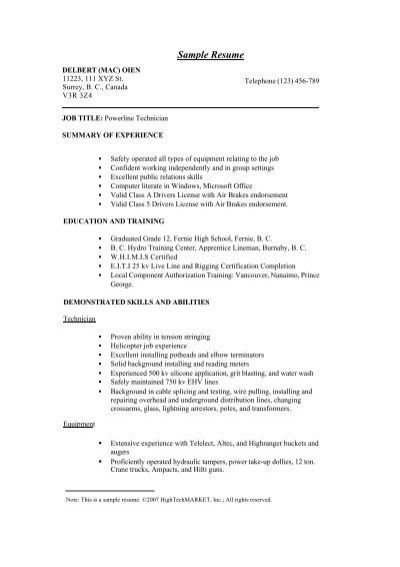 sample of an excellent resume