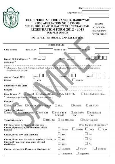sample admission form - Delhi Public School, Haridwar - admission form school