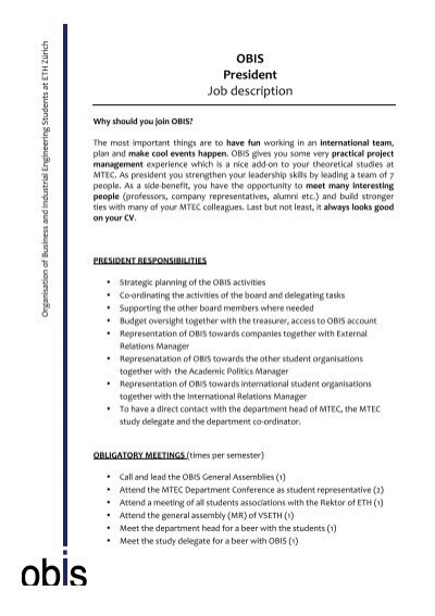 OBIS President Job description - president job description