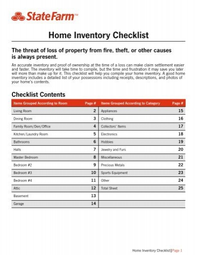 Home Inventory Checklist - State Farm
