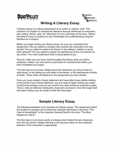 Writing A Literary Essay - Bow Valley College