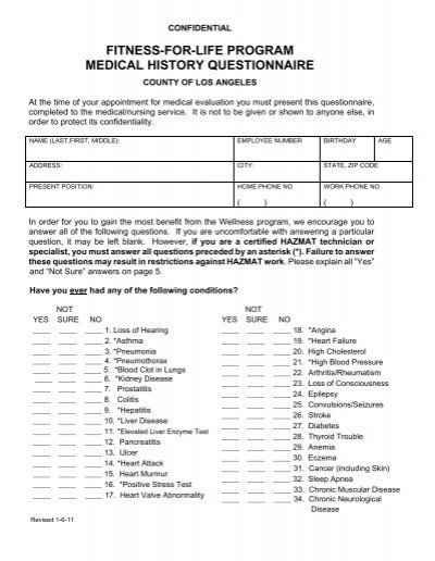 fitness-for-life program medical history questionnaire