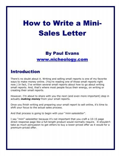 How to Write a Mini- Sales Letter