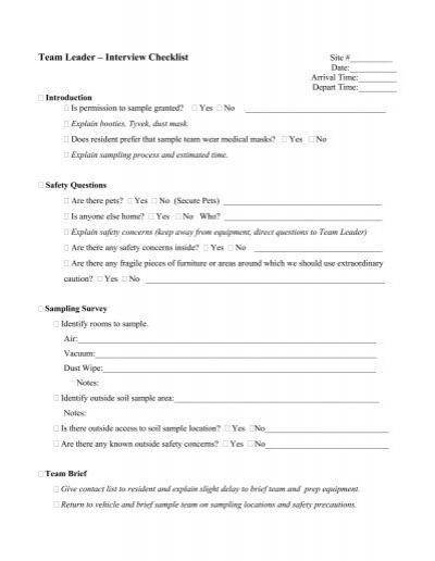 Team Leader \u2013 Interview Checklist - interview questions for team leader