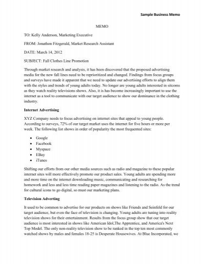 Sample Business Memo MEMO TO Kelly Anderson, Marketing - Sample Business Memo