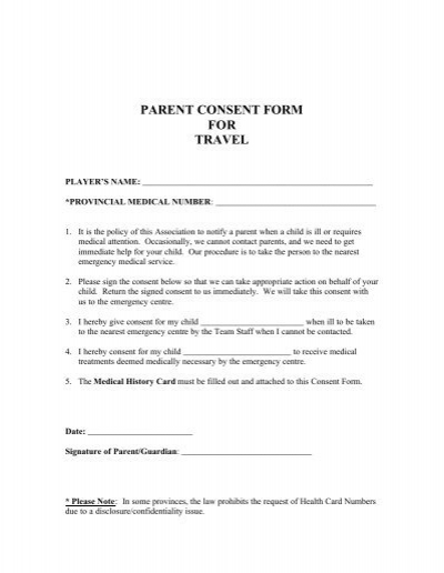 Parent Consent Form for Travel - BCLA